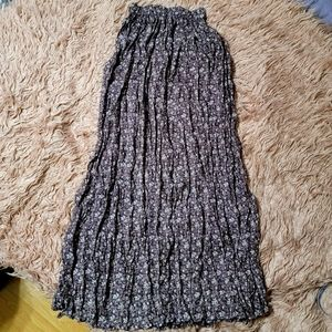 Boho Floral Print Crinkled Maxi Skirt